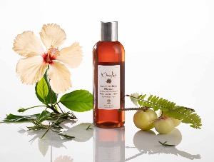 "Lotion capillaire naturelle Ayurvedique en spray ""Hibiscus Tonifiante"", Hydratante - Vegan - 100 ml"