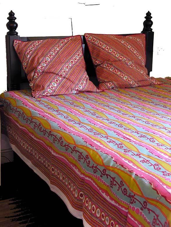 lolipop 24 jet de lit canap 225x270 cm coton imprim main. Black Bedroom Furniture Sets. Home Design Ideas