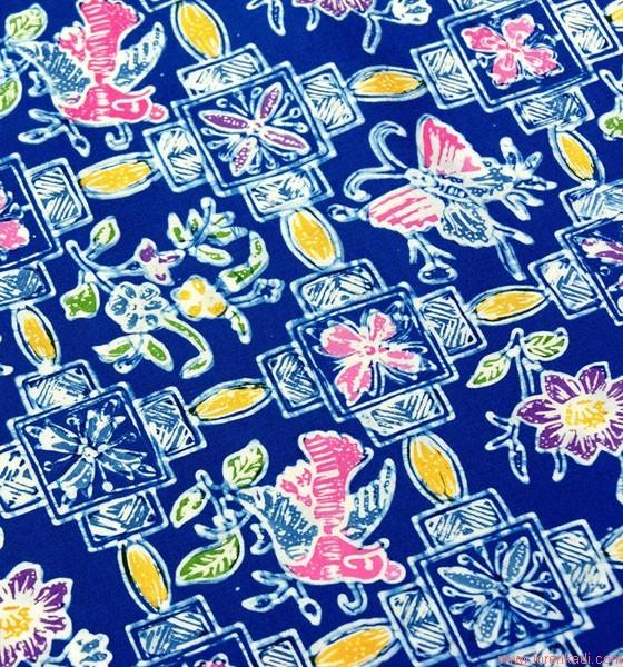 Nappe artisanale en batik - Nappe bleu fonce ...